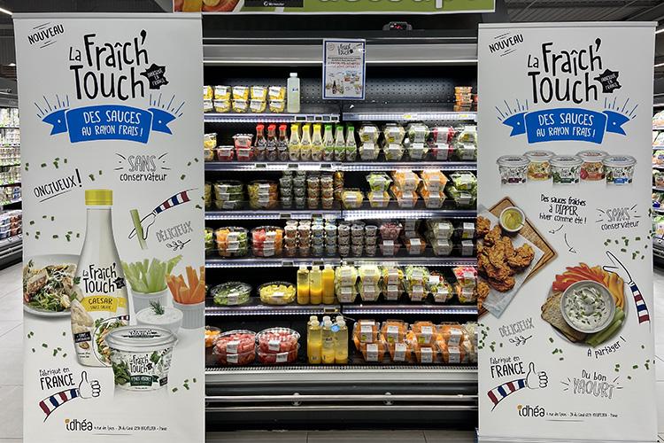 La Fraich'Touch sauce en rayon de supermarché avec kakemono